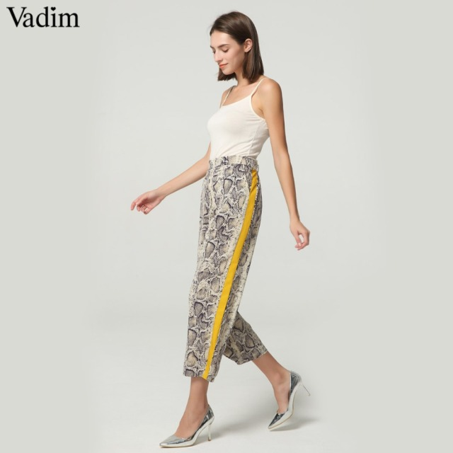 Vadim women side striped snake skin pattern pants elastic waist pockets ladies casual streetwear fashion trousers mujer KA252