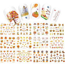12 Designs in 1 set Thanks Giving/Yellow Leave Design for Nail Art Decorations Water Transfer Sticker Full Warps LABN361-372