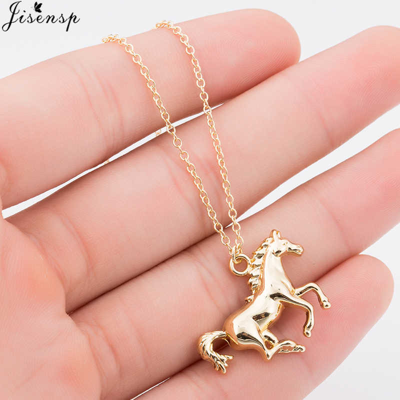 Jisensp Women Vintage Gold Color Collier Cool Opal Horse Pendants Necklace for Girls Gift New Horseshoe Animal Wedding Jewelry