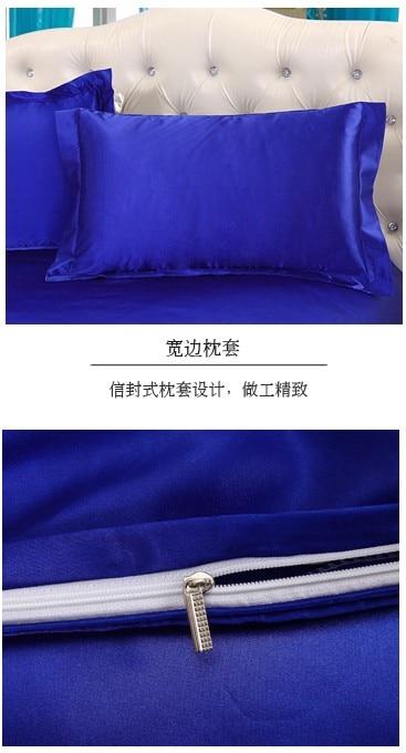 Ipek Kraliyet mavi yatak seti saten Kaliforniya Kral kraliçe tam - Ev Tekstili - Fotoğraf 5