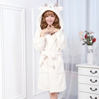 Winter Anime Robe Women Warm Flannel Bathrobe Long Sleeve Hooded Pajamas Animal Sheep Cartoon Loose Sleepwear With Pockets