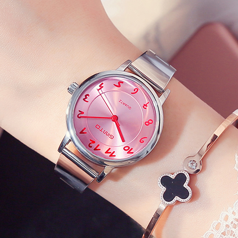 GIMTO Fashion Women's Watches Quartz Stainless Steel Bracelet Ladies Watch Lovers Female Dress Wristwatch Reloj Relogio Montre