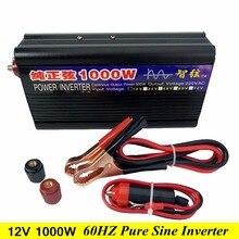 Пиковая мощность 1000 Вт 60 Гц чистая Синусоидальная волна решетки инвертор постоянного тока 12 В в переменный ток 110 В/220 В 60 Гц Преобразователь мощности 6 защиты