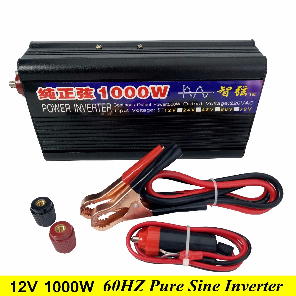 Peak Power 1000W 60HZ Pure Sine Wave OFF Grid Inverter DC 12V to AC 110V/220V 60HZ Power Inverter Converter 6 Protections fedex freeshipping 1200w off grid pure sine wave power inverter 2400w peak power