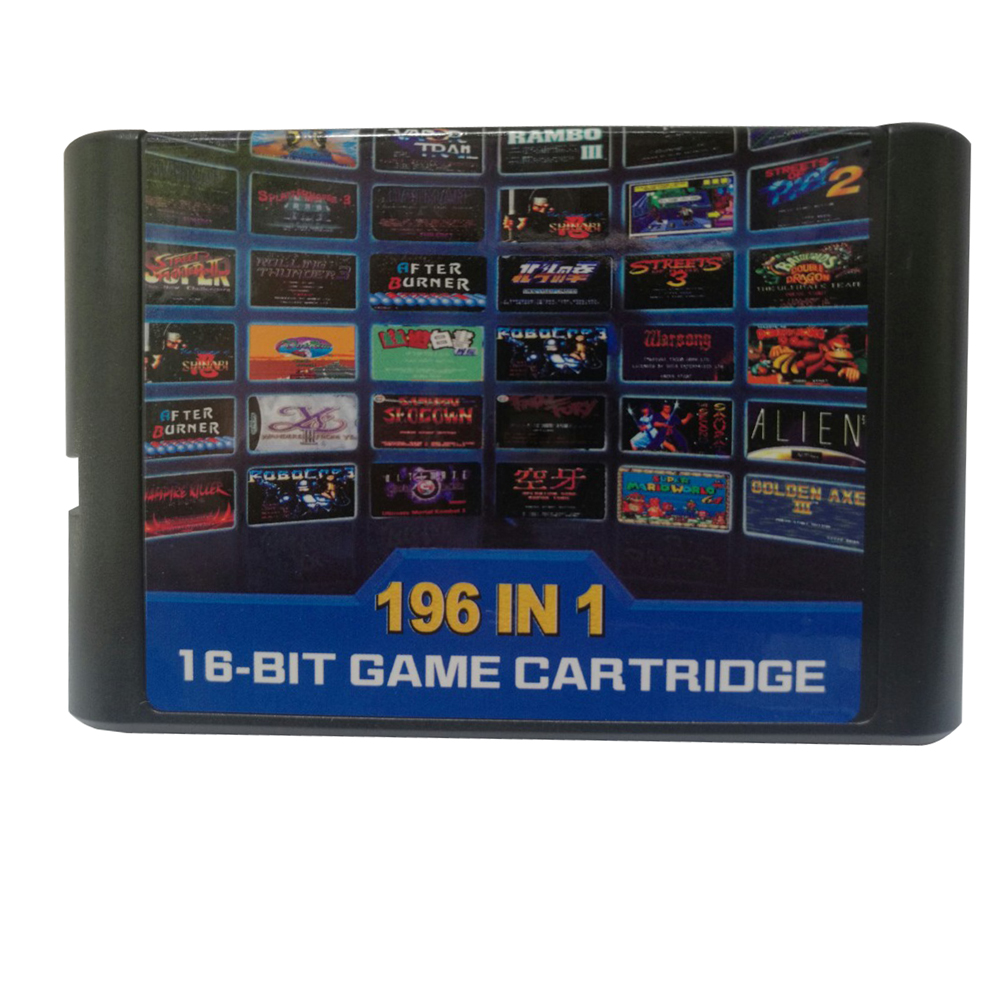Hight quality 196 in 1 games cards cartridge 16 bit For Sega Mega Drive MD For PAL and NTSC drop shipping