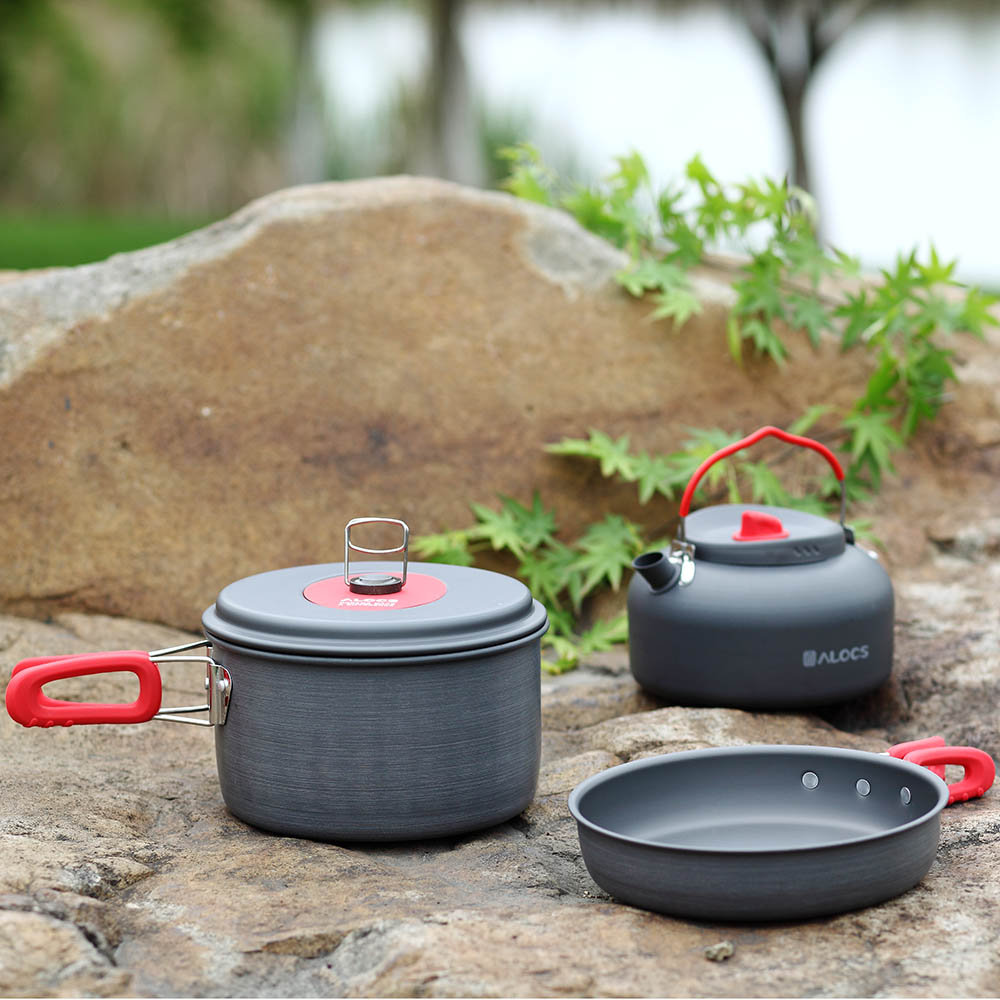 ALOCS Portable Ultralight Outdoor Non-Stick Camping Hiking Backpacking Cooking Picnic Cookware Pan Pot Kettle Dishcloth Set цены онлайн