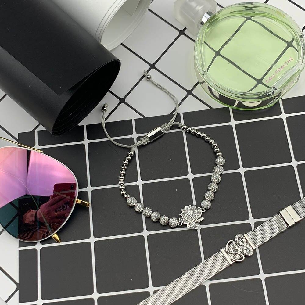 Luxury Paving CZ Lotus bracelet ball Charm copper Beads Braided Adjustable handmade men Bracelets Bangles for women Jewelry in Charm Bracelets from Jewelry Accessories