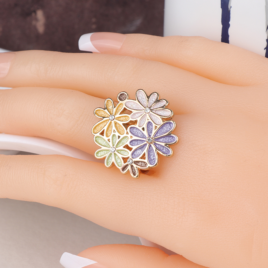 Kinel Original Colorful Enamel Ring For Women Fashion Dubai Gold Jewelry Engagement Party Open Ring 2019 New in Engagement Rings from Jewelry Accessories