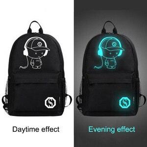 Image 2 - Aydınlık moda sırt çantaları öğrenci animasyon okul çantaları için erkek kız genç USB şarj bilgisayar anti hırsızlık Laptop sırt çantası