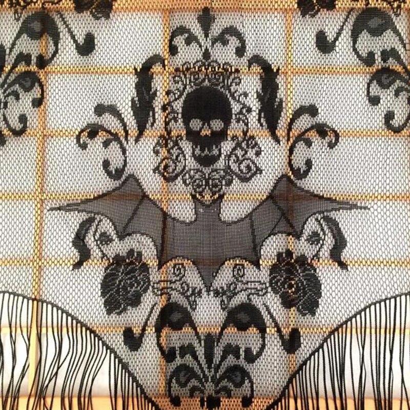 Skull Bat Web Curtain Topper Shawl Halloween Haunted House Home Tassel Party Supplies Drop Shipping