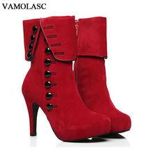 VAMOLASC New Women Autumn Winter Warm Faux Suede Ankle Boots Buttons Zipper Thin High Heel Martin Boots Platform Women Shoes