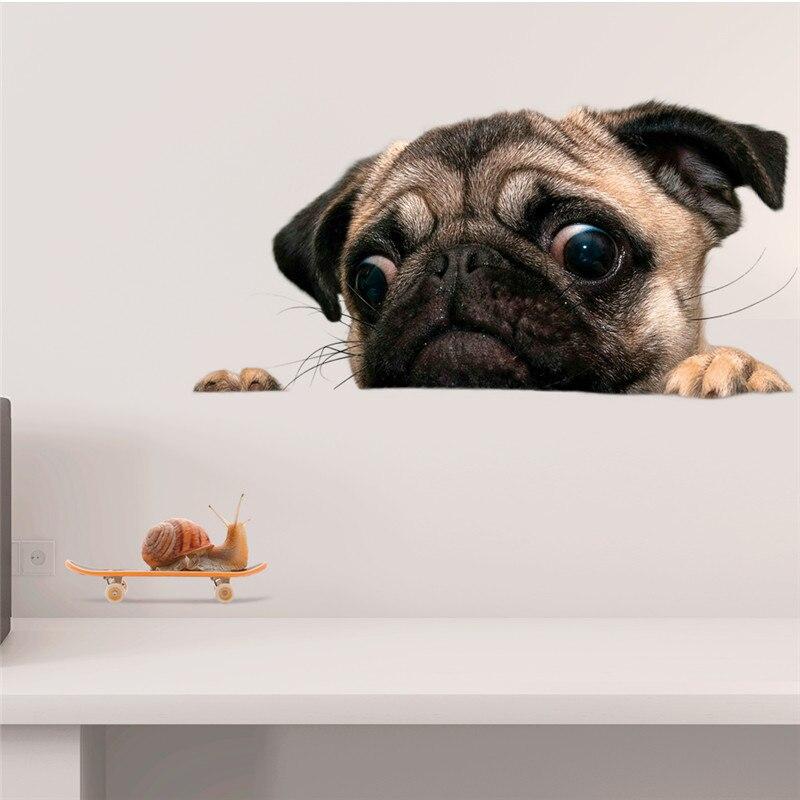 3D Vivid собака стикер Ванная Комната, Туалет компьютер домашнего декора животных на стены Искусство стикер туалет для ванной плакат росписи