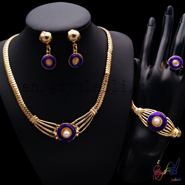 YULAILI Free Shipping Luxury Dubai 18 Carat Gold Color African Jewelry Sets Necklace Earrings Vintage Bracelet Necklace Ring