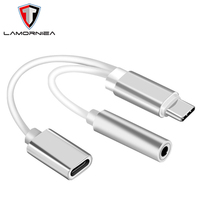 Earphone Charging For iPhone X 7 8 Plus IOS 12 Dual Jack Audio Adapter Headphones Splitter Cable For 2 In 1 USB Type-C To 3.5MM