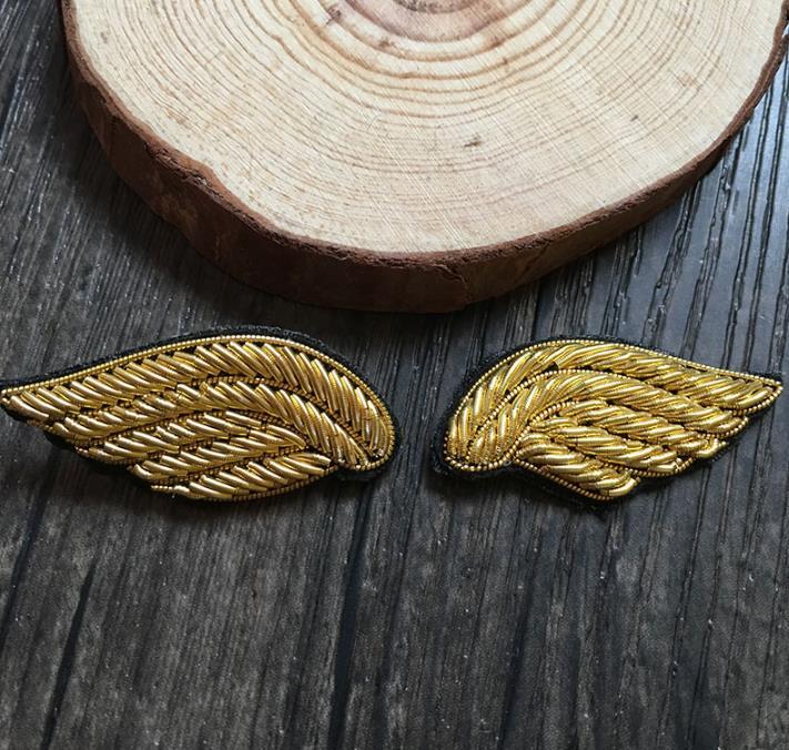 Plume aile brodé Patch broche indien fil de soie à la main brodé Badge tissu Patch mode vêtements bricolage artisanat approvisionnement