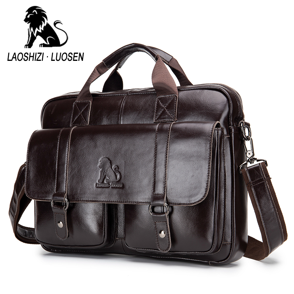Business Messenger Bag Genuine Leather Men Shoulder Bag Vintage Male Casual Totes Handbag Cowhide Crossbody Bag Men