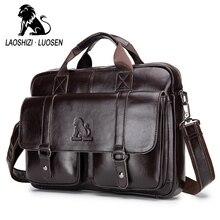 Business Messenger Bag Genuine Leather Men Shoulder Bag Vintage Male Casual Totes Handbag Cowhide Crossbody Bag Men