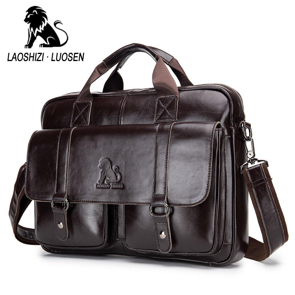 Sac de messager d'affaires en cuir véritable hommes sac à bandoulière Vintage mâle fourre-tout décontractés sac à main en cuir de vachette sac à bandoulière hommes