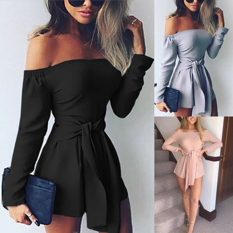 Women Summer Casual Playsuit Clubwear Ladies Long Sleeve Jumpsuit Romper Solid Overalls 2019