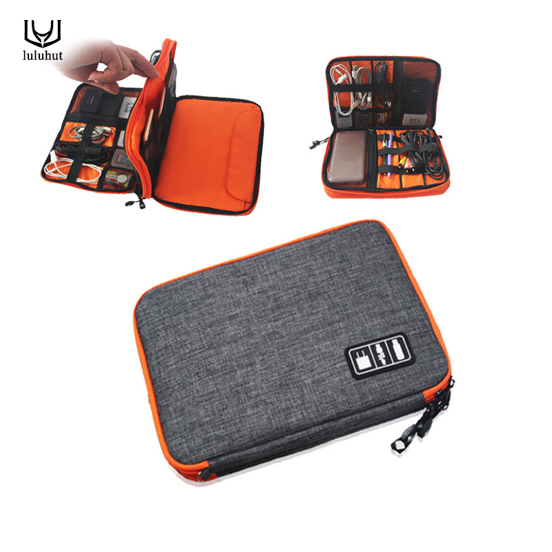 luluhut tahan air Ipad organizer USB kabel data earphone kawat pena tas penyimpanan travel kit kasus digital gadget