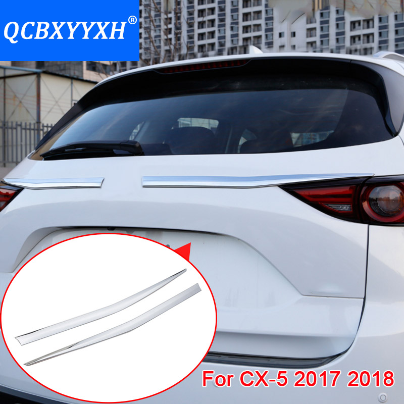 QCBXYYXH Car Styling ABS Rear Bumper Protector Tail Tailgate Trunk Guard Sill Plate Scuff Trim Cover For Mazda CX-5 2017 2018 for mazda cx 5 cx5 2015 2016 car body styling cover detector abs chrome rear door bottom tailgate frame plate trim lamp 1pcs