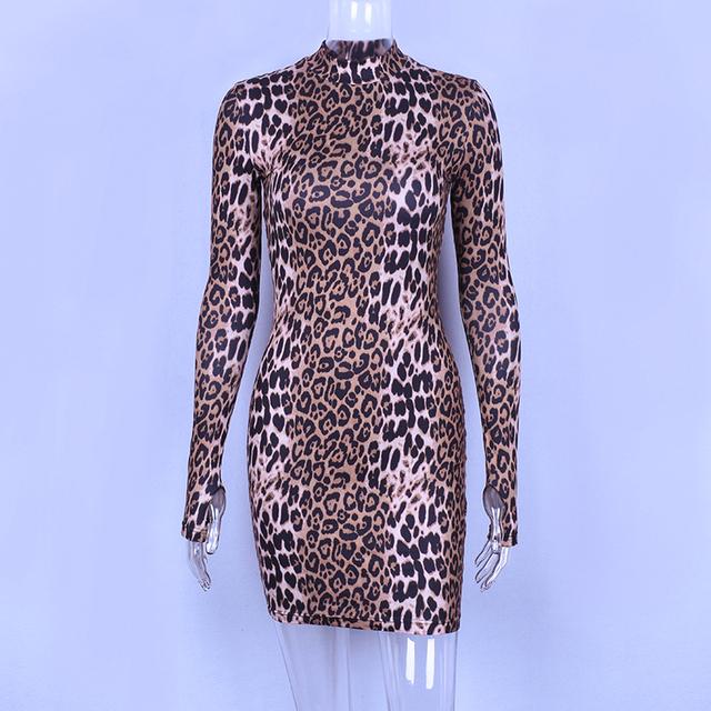 Leopard print long sleeve mini dress