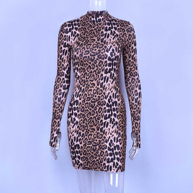 Hugcitar z długim rękawem na szyję wzór w cętki sexy bodycon mini sukienka 2019 jesienno-zimowa moda damska ubrania na przyjęcie bożonarodzeniowe