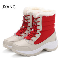 2018 women snow boots winter warm boots thick bottom platform waterproof ankle boots Lace up thick fur cotton shoes size 35 41