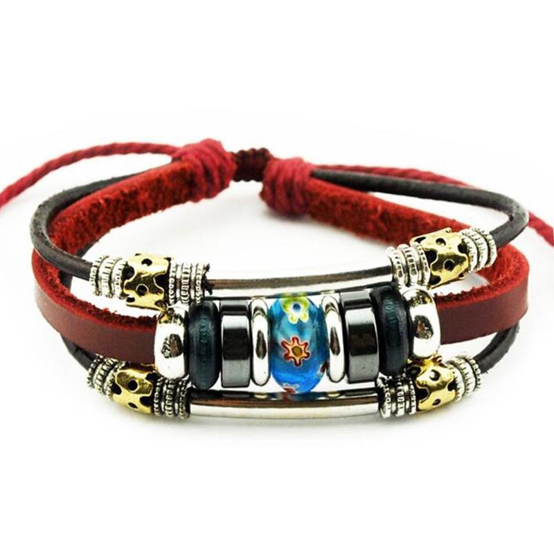 Qiyige заклепки кожаный браслет Обёрточная бумага Кожа Многослойные браслет коричневый Цвет модные Браслеты ювелирные изделия