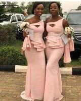 Длинные Русалка одно плечо розовый Длинные свадебные платья Африканский Для женщин вечерние платья с аппликацией abito damigella