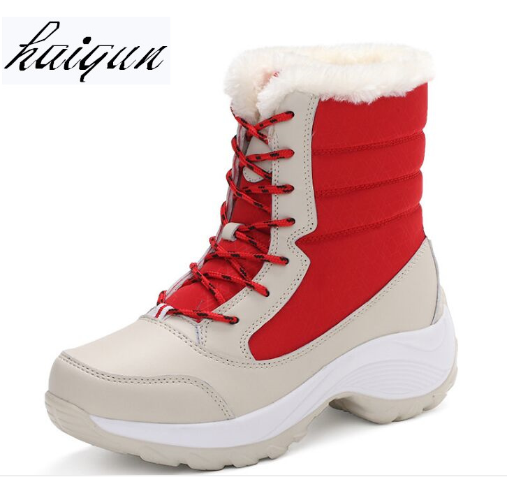 Women Boots Warm Fur Winter Boots Fashion Women Shoes Lace Up Platform Ankle Boots Waterproof Snow Boots Non-slip Ladies Shoes sexy women denim light blue skinny jeans crochet lace party female carve flower pants for women plus size s 3xl clothing k096