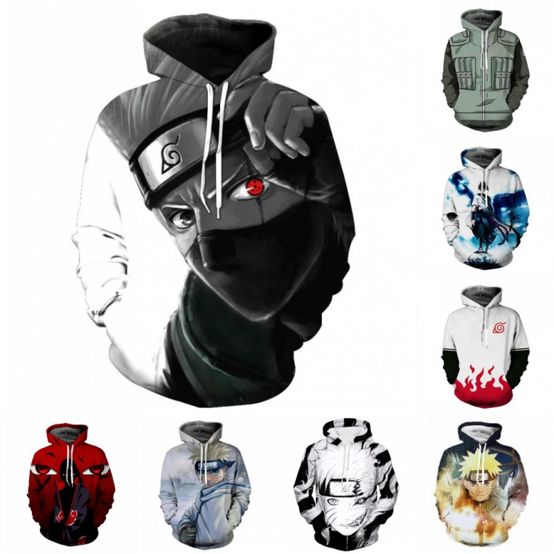 Naruto Cosplay Street Wear Mens Clothing Sweatshirt Jacket 3D Naruto Hoodies Anime Hip Hop Costume Anime Hoodie
