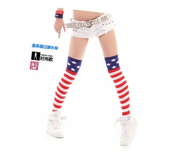10pairs/lot free shipping european and american style woman over knee stocking stripe star cotton thigh high stocking free size