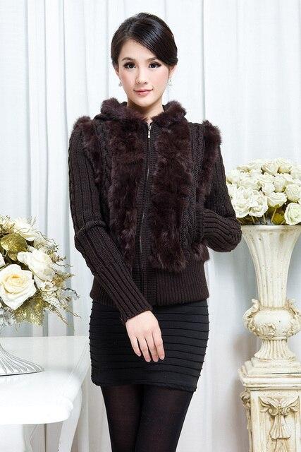 Genuine real natural rabbit fur coat  hooded cardigan sweater coat women fashion jacket Free shipping