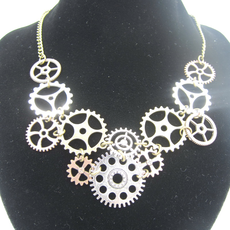 New Sale Differemt Kinds of Gears Nice Linked Steampunk Collar Necklace