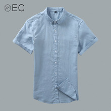 d781de37a89f EC2018 Mens Shirts Summer Men Cotton Linen Short Sleeve Casual Slim Shirt  Male White Color Casual Shirts Brand Clothing T134