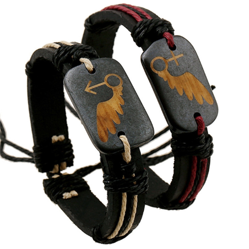 1pc Angel Wings Bracelet Love Couple Bracelet For Man And Woman Genuine Leather Woven Bone Vintage Retro Punk Jewelry