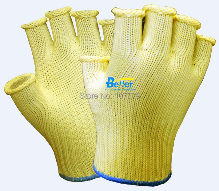 Half Finger Anti Cut Safety Glove FBA Amazon Aramid Fiber Cut Resistant Work Glove anti cut safety glove hppe cut resistant work glove