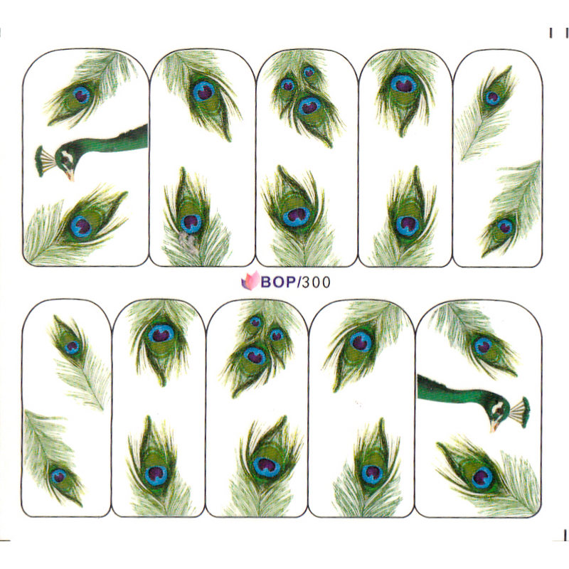 Buy uprettego nail art water decal slider for Where can i buy peacock feathers craft store