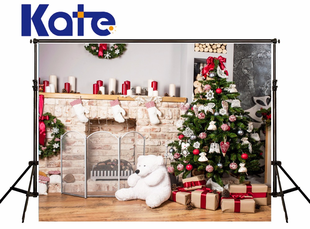 Indoor Fireplace Christmas Tree Photography Background: Kate Christmas Indoor Backdrops Photography Christmas Tree