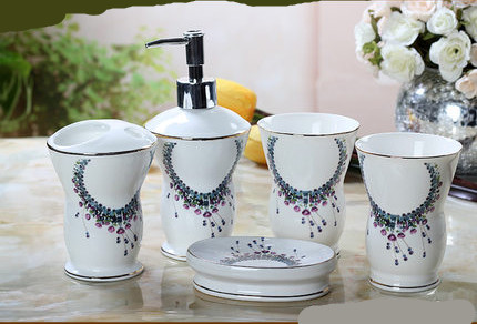 Cup brush bathroom set luxurious fashion China ceramic bathroom set of five pieces toothbrush cup holder