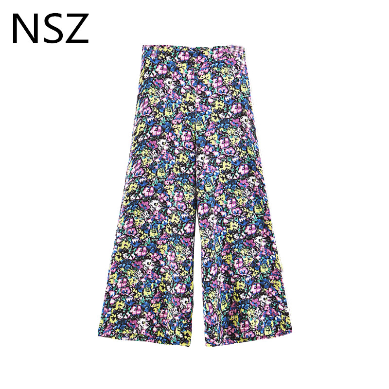 NSZ Women Floral Print Summer   Wide     Leg     Pant   Loose Casual Calf-Length   Pant   Cropped Trousers