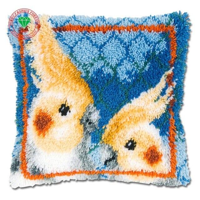 Parrot Pillow Cushion Decor Carpet Latch Hook Rug Kits Pillowcase Home Crochet Hooks