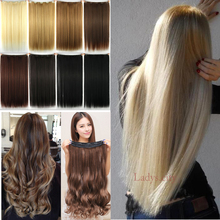 Clip On Hair Extension 66cm 26inch Natural Hairpiece Hair Piece Straight Synthetic Clip In Hair Extensions Sliver Gray Red Brown