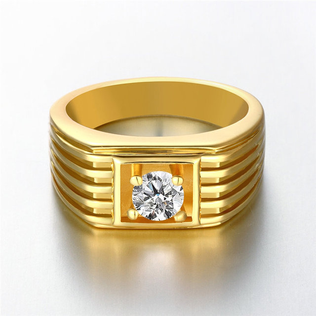 24K Yellow Gold Rose Gold White Gold Color Men Ring Round