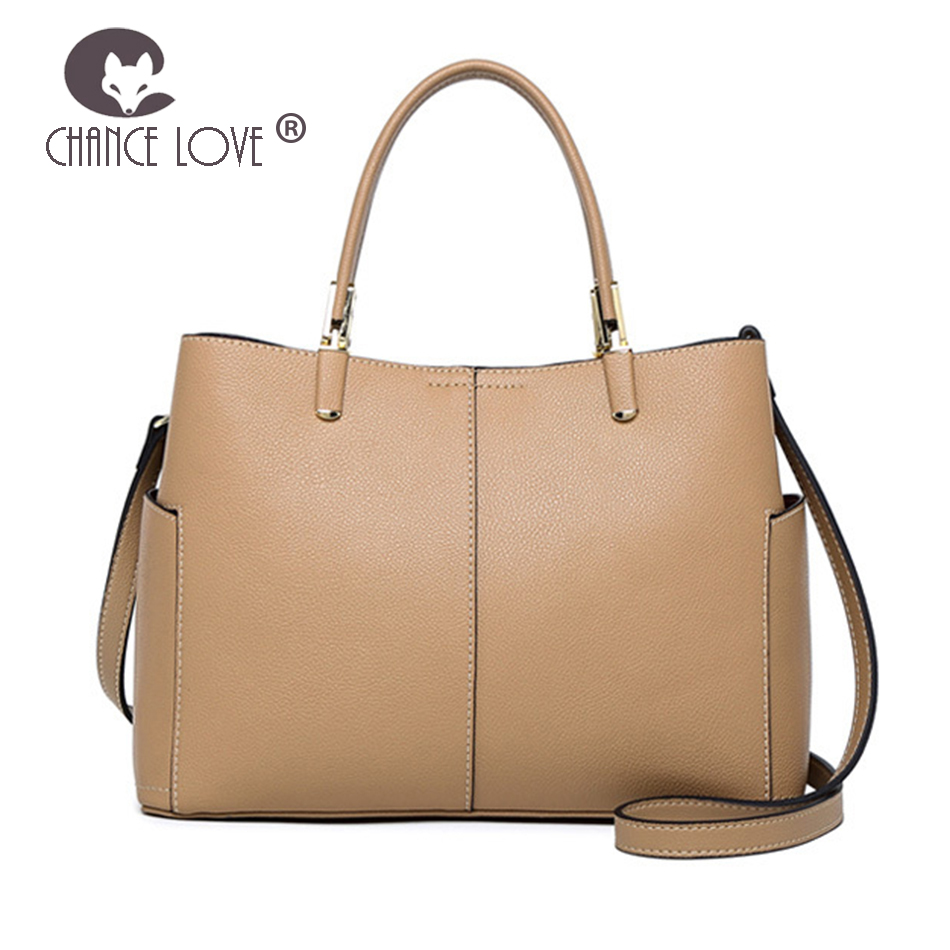 Chance Love 2018 new side pockets beige black Genuine leather handbags fashion women casual tote wild Messenger shoulder bag black causal two side pockets hoodie