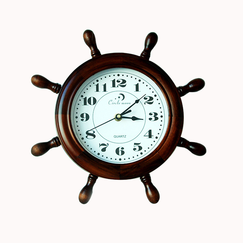 Wooden  Retro helmsman Wall Decor Clock Household Bar Wall Decoration Clock With Roman Number Silent Clock
