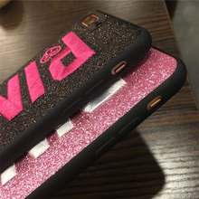 3D Embroidery Glitter Victoria Pink Case for iPhone 8 7 6 6S Plus X XS max XR