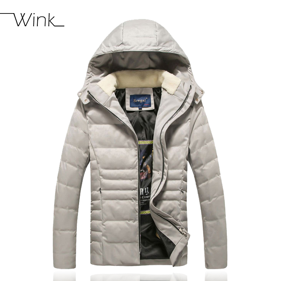 ФОТО Short Style Parka Winter Cotton Down Jacket For Men Korean Big Size L-4XL Slim Fit Stand Collar Man Casual Coat Homme Grey E374