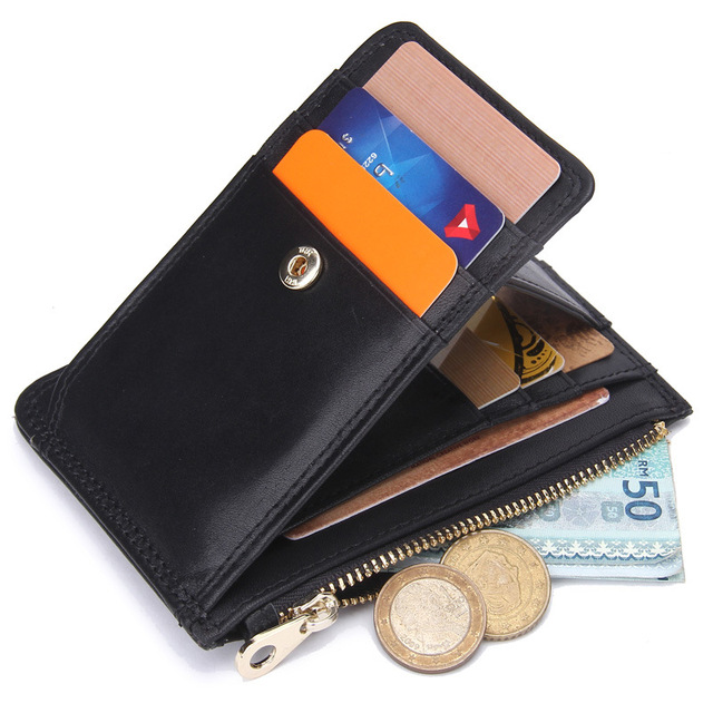 2017 Men Zipper Genuine Leather Wallet Business Casual Credit Card ID Holder With Strong Magnet Money Clip Cover On The Passport